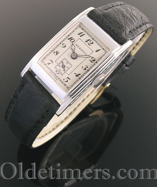 1930s rectangular silver vintage Hermes watch (4065)