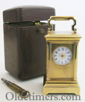 1920s sub-miniature 8-day Anglaise Case Carriage Clock with Original Leather Travelling Box