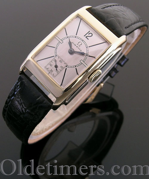 1930s 9ct two colour gold rectangular vintage Omega watch (4054)