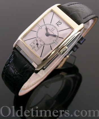 1930s 9ct two colour gold rectangular vintage Omega watch