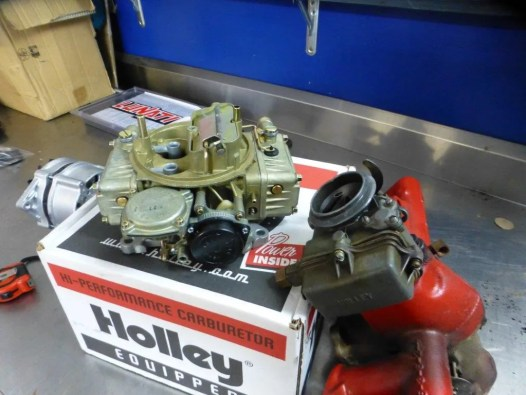 The original Holley carburettor on the right needed to be replaced so I have fitted a modern 4 barrel Holley.