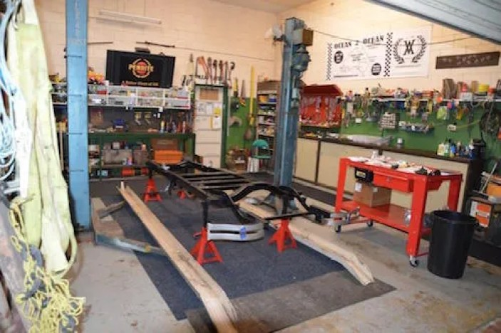 The workshop is cleared out and the chassis made ready for fitment of the components