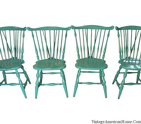 diy painted windsor chairs best compact high chair 4 vintage american comb back - glossy aqua blue home