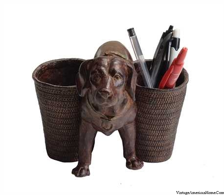 Little Dog Pencil Holder  Vintage American Home
