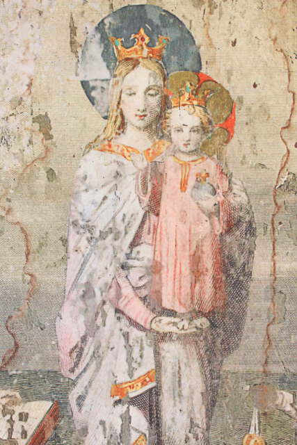 Virgin Mary and Baby Jesus  vintage style wood wall image