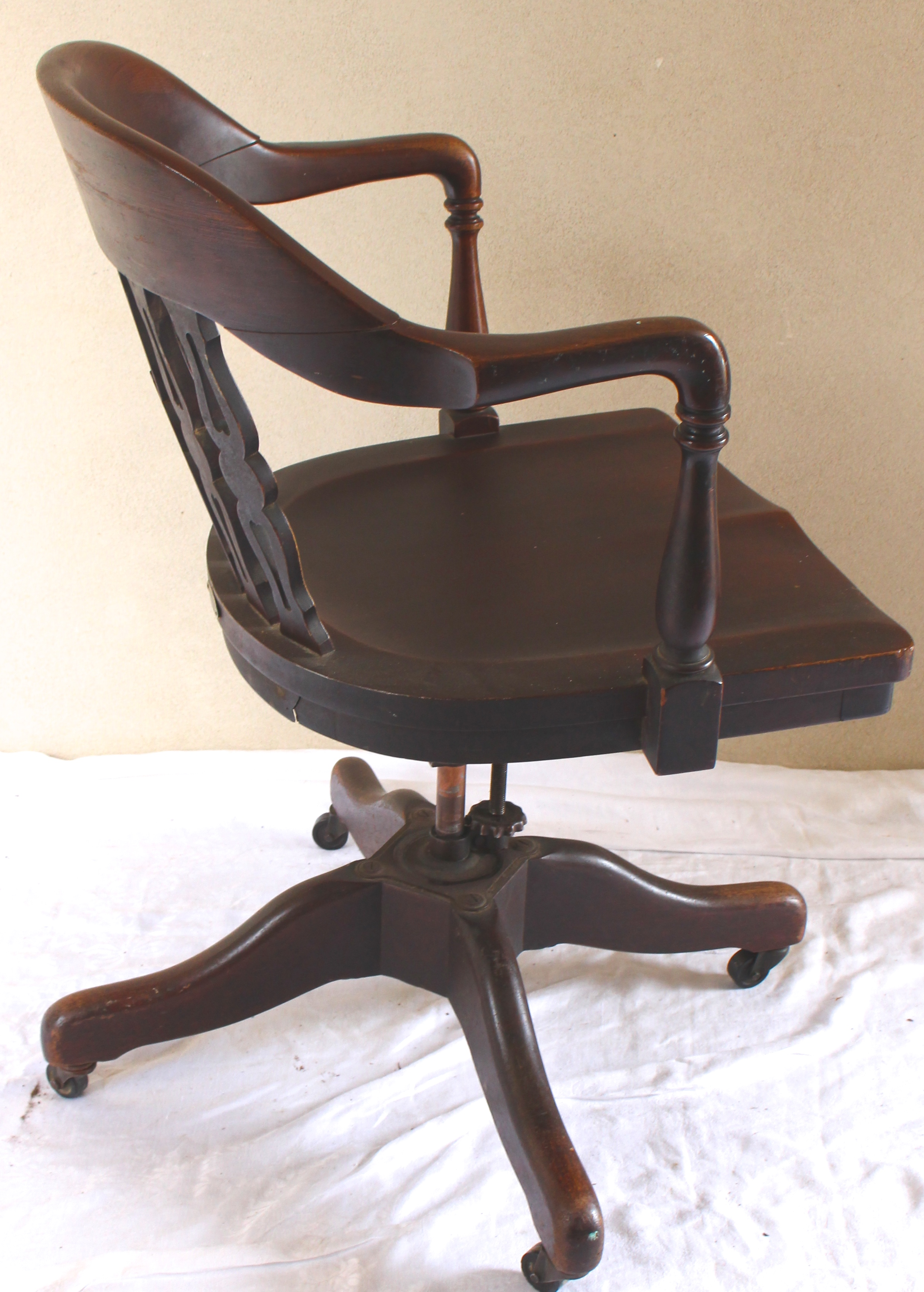 revolving chair base price in india covers for hire nz antique rotating swivel desk vintage american home