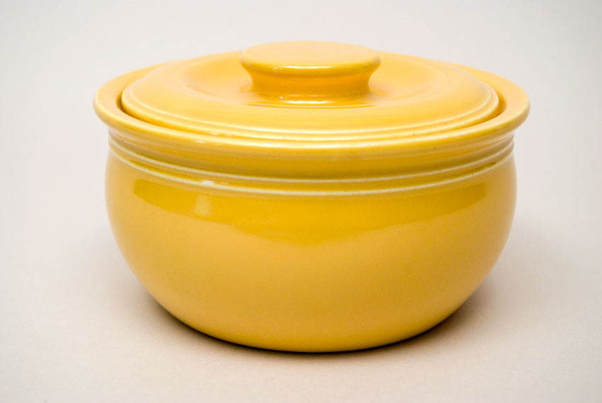 fiesta kitchen dinettes kraft individual casserole in original yellow glaze