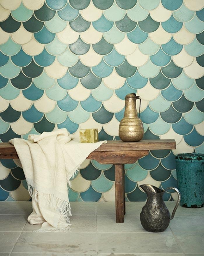 Idea dec azulejos con forma de escamas de pez y un DIY