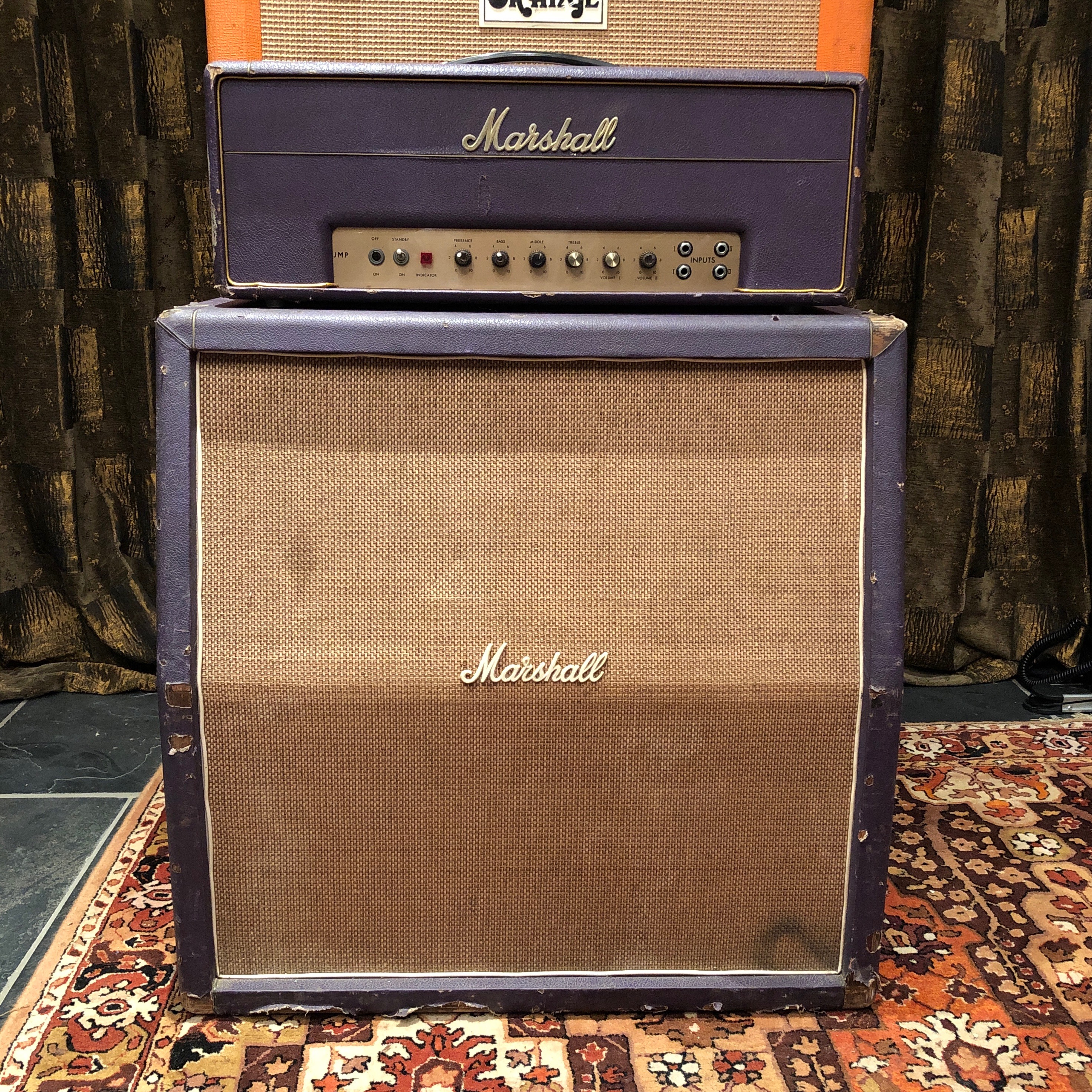 hight resolution of marshall vintage 1968 marshall jmp 50 plexi custom purple stack amplifier