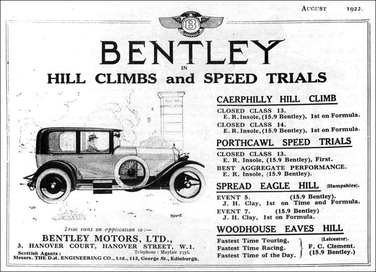 1922 advertisements featuring Vintage Bentleys