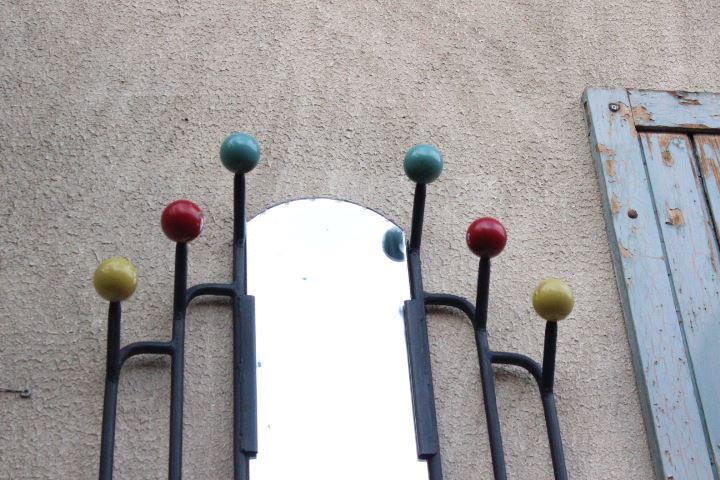 Porte Manteaux Vintage Avec Miroir Central Et Boules De