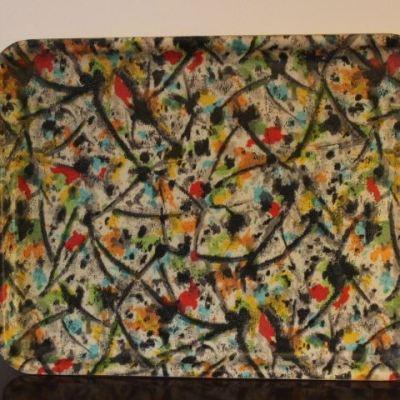 Plateau fibre vintage inspiration Jackson Pollock