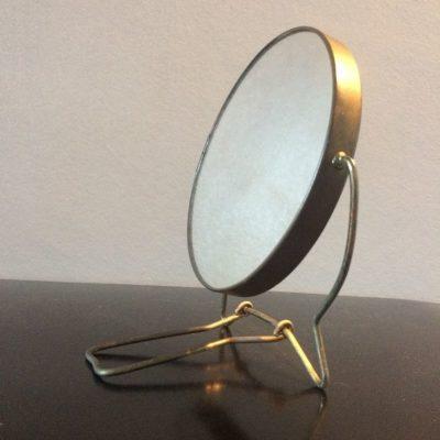 Ancien miroir barbier rond à poser