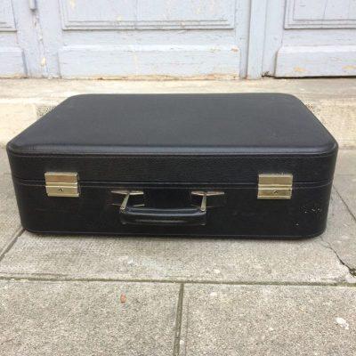 Valise vintage skaï noir