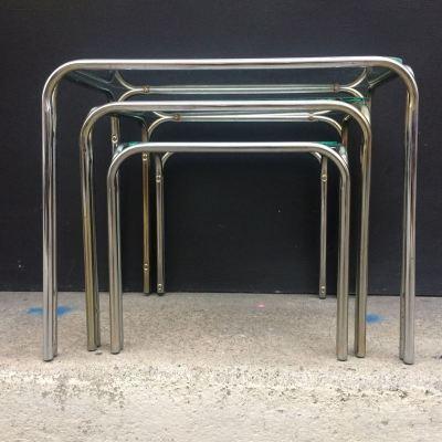 Tables gigognes métal et verre vintage 1970