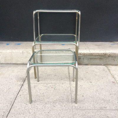 Série de 3 Tables gigognes métal et verre vintage