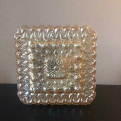 Plafonnier verre moulé vintage