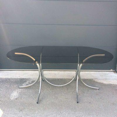 Authentique table vintage plateau verre fumé