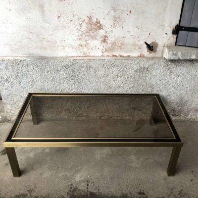 Table basse vintage plateau verre fumé