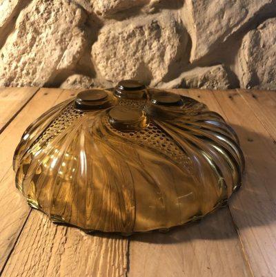 compotier verre ambré vintage