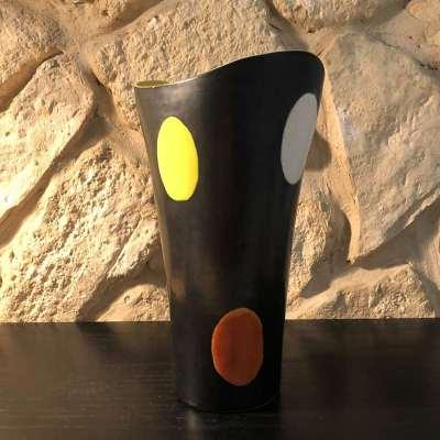 Vase céramique émaillée noir