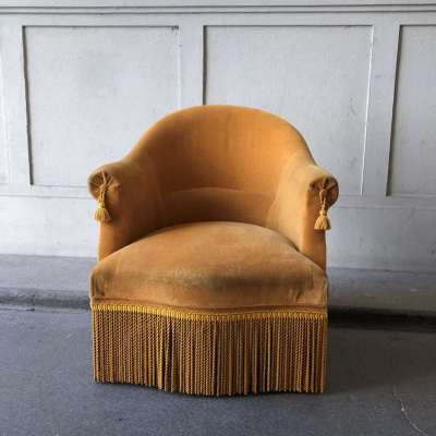 fauteuil crapaud jaune ocre vintage