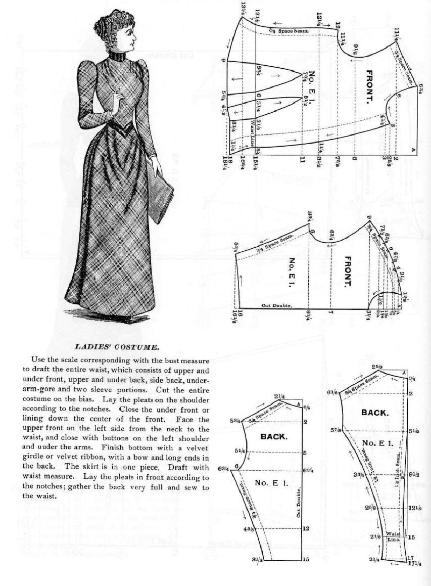 One Piece Skirt Dress Pattern 1890