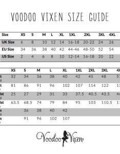 Voodoo vixen clothing size chart also dress rh vintagedolls