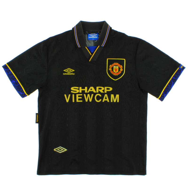 Here is a genuine signed eric cantona manchester united shirt 92/93 season. 1993-95 Manchester United Away Shirt L for sale