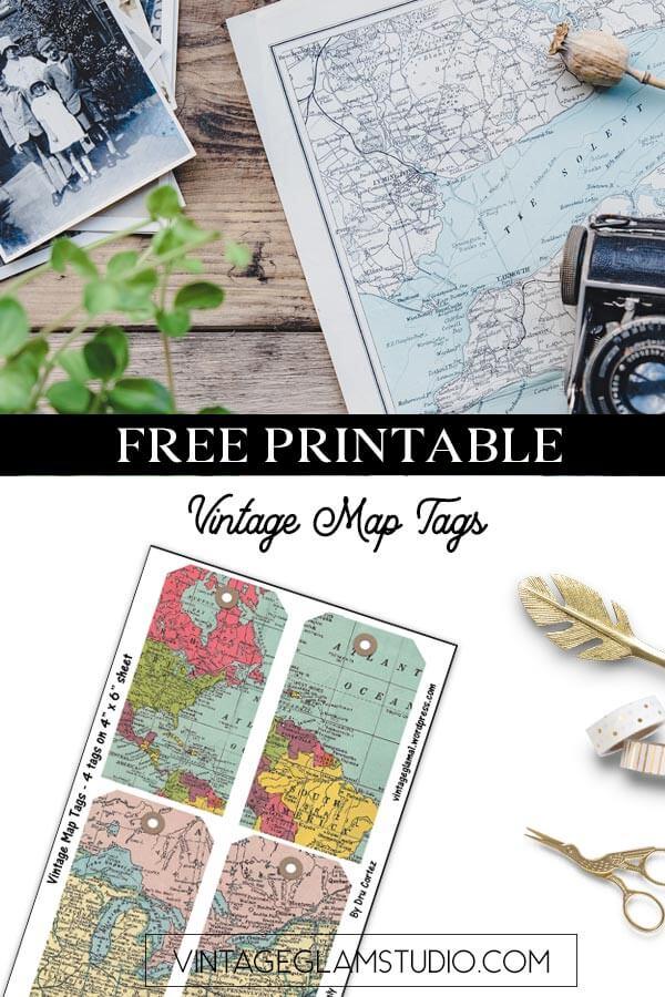 vintage map tags
