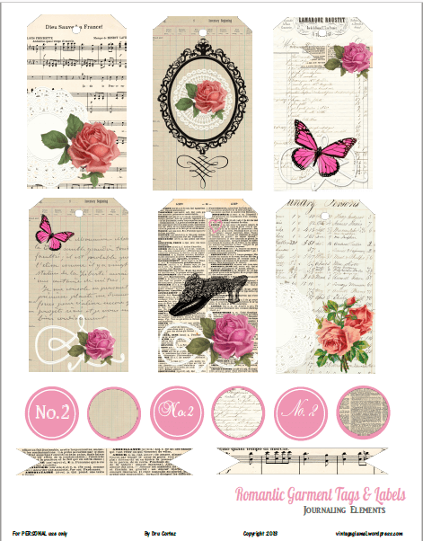 Romantic Garment Tags printable preview