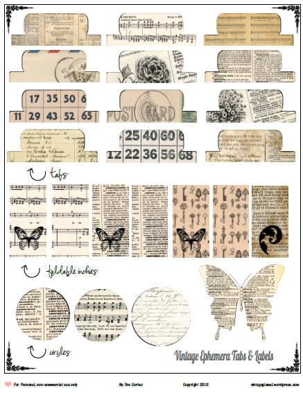 Vintage Ephemera Tags printable