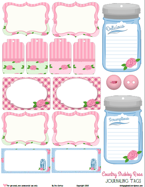 Country Shabby Rose   printable