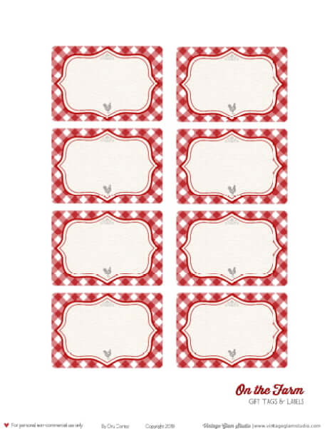 Red gingham farmhouse labels