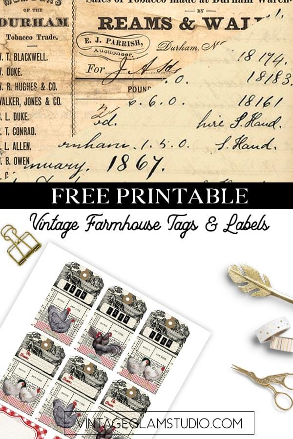vintage farmhouse labels and tags