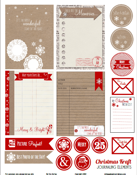 Christmas Kraft Journaling Cards printable