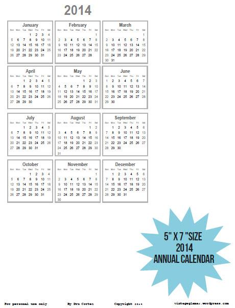 2014 Annual Calendar-5x7