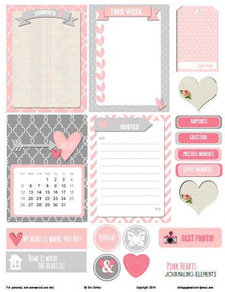 Pink Hearts Journaling Elements | Free pocket card printable