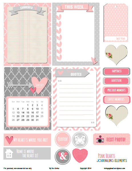 Pink Hearts Journaling Elements | Free pocket card printable