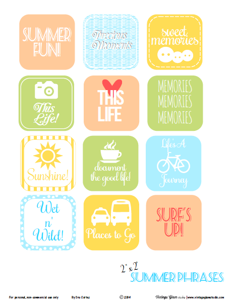 summer phrases journaling elements