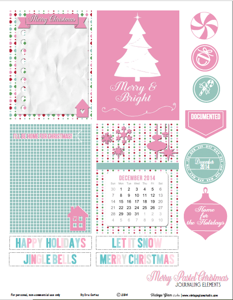 Merry Pastel Christmas Journaling Cards