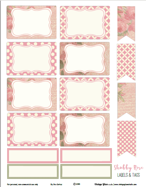 Shabby Rose Labels Tags