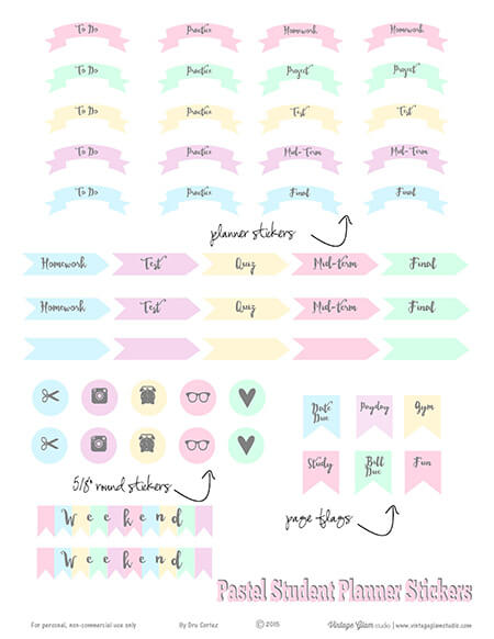Pastel Student Academic Planner Stickers Free Printable Download