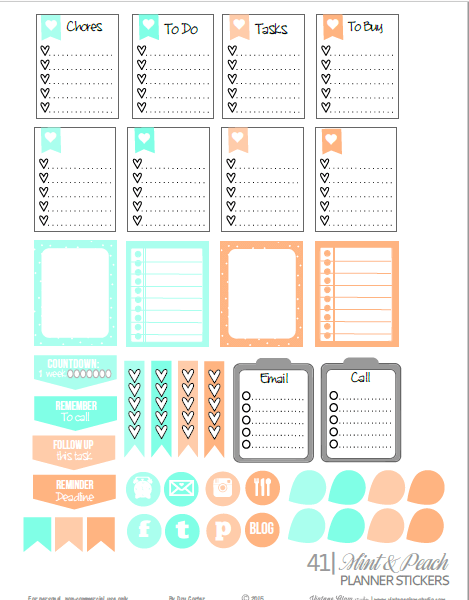 Mint & Peach planner stickers