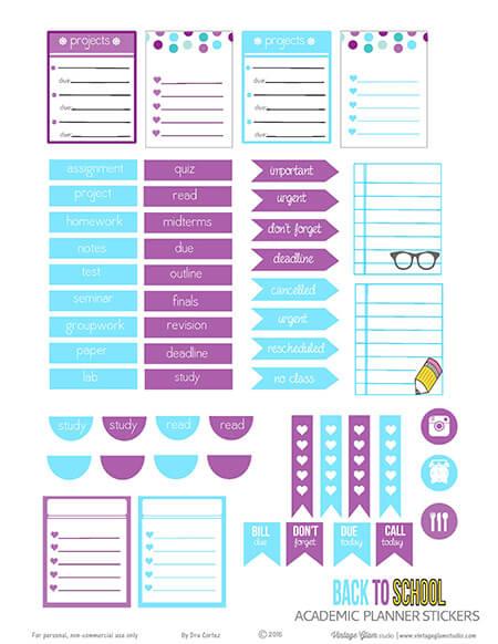 Academic Planner Stickers Free Printable Download Vintage Glam