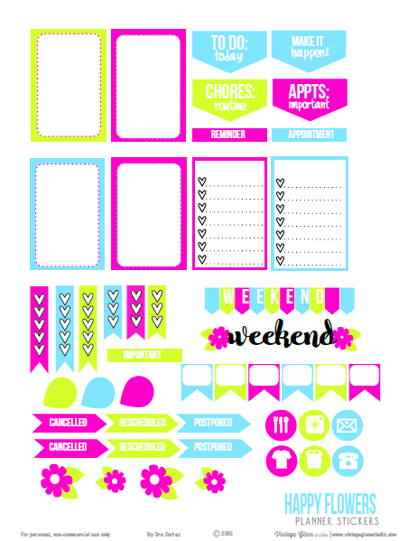 Happy Flowers planner stickers