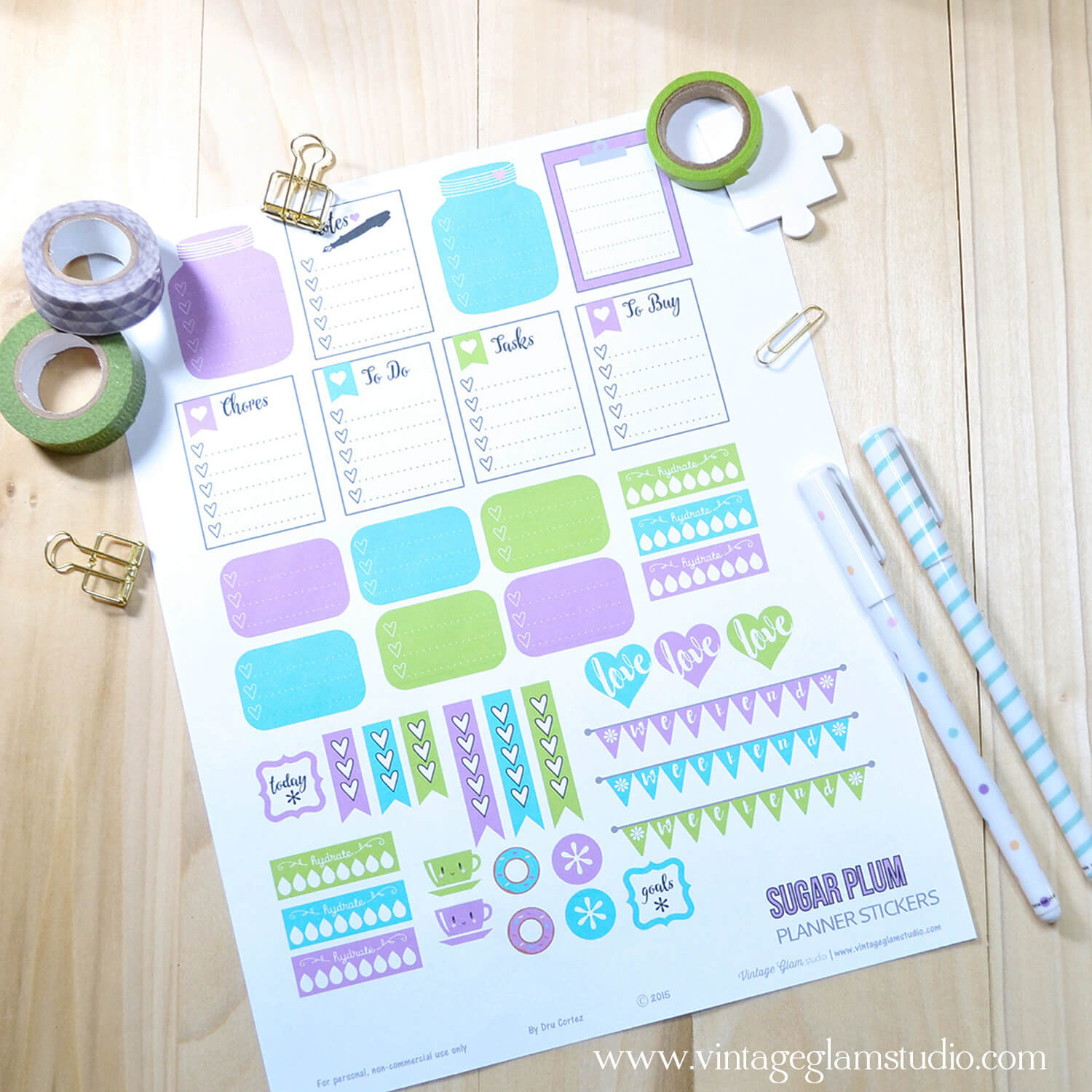Sugar Plum | Planner stickers printable