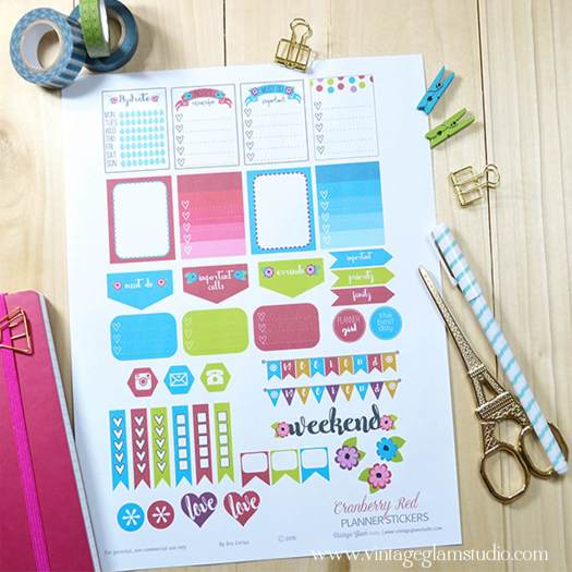 Cranberry Red planner stickers