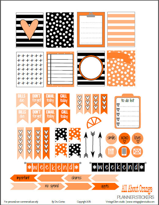 All About Orange planner stickers preview