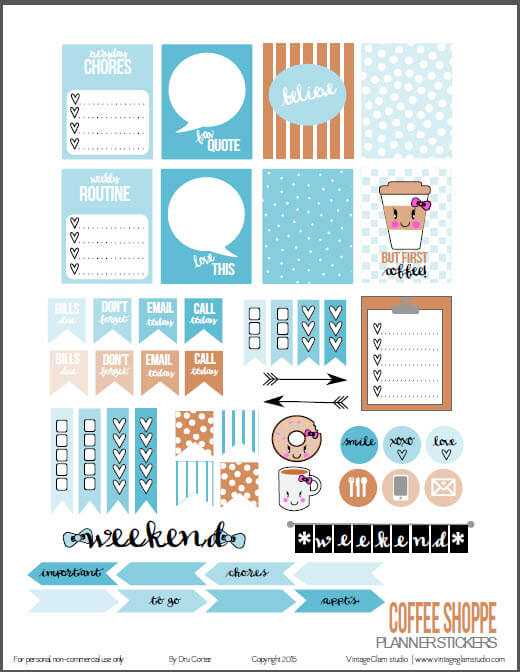 Coffee Shoppe | planner stickers preview